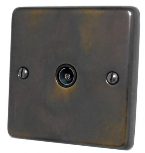 G&H CAN35B Standard Plate Polished Aged Brass 1 Gang TV Coax Socket Point